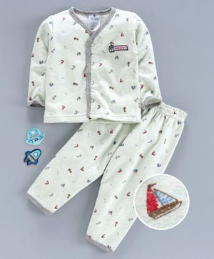 First Smile Full Sleeves Night Suit Boat Print -  Green