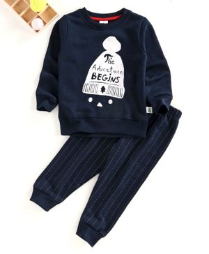 Ollypop Full Sleeves Winter Wear Suit Text Print - Navy Blue