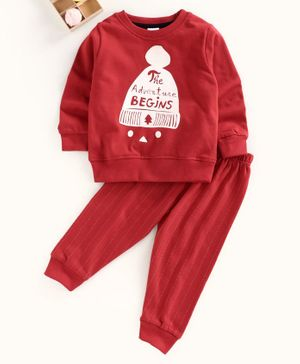 Ollypop Full Sleeves Winter Wear Suit Text Print - Maroon
