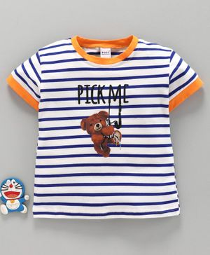 Meng Wa Half Sleeves Striped Tee Teddy Print - White Blue