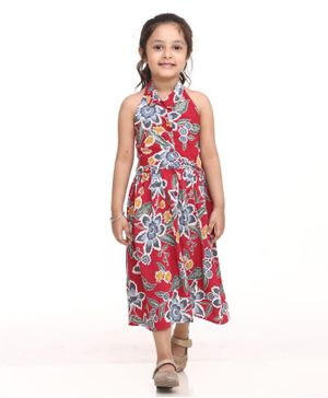 BownBee Halter Neck Sleeveless Flower Print Dress - Red