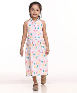 BownBee Halter Neck Sleeveless Polka Dot Print Dress - Pink