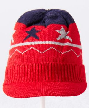 Babyhug Woolen Cap Star Design Red  -  Diameter 12 cm