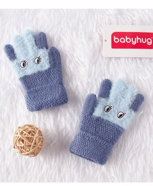 Babyhug Woolen Gloves - Grey Blue