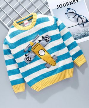 Babyhug Full Sleeves Striped Sweater Aeroplane Patch - Blue