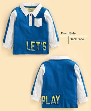 Babyoye Cotton Blend Full Sleeves Tee Let's Play Print - Blue Light Grey