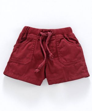 Olio Kids Solid Colour Shorts - Maroon