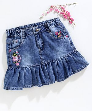 Olio Kids Knee Length Denim Skirt Floral Embroidery - Blue