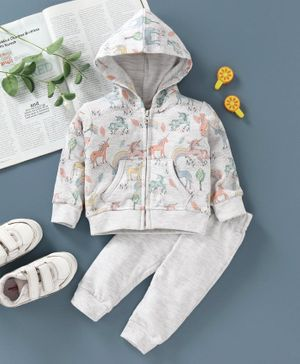 ToffyHouse Full Sleeves Hooded Sweat Jacket & Bottoms Unicorn Print - Fawn Light Grey
