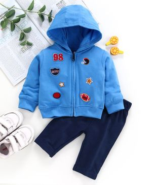 ToffyHouse Full Sleeves Hooded Winter Wear Suit Sports Patch - Blue