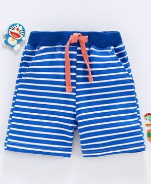 Babyhug Mid Thigh Length Stripe Shorts with Drawstring - Blue