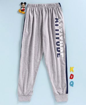 Doreme Full Length Track Pant Text Print - Grey