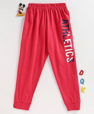 Doreme Full Length Track Pant Text Print - Red