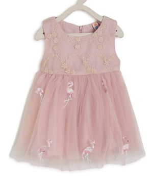 Kids On Board Sleeveless Flamingo Embroidery Detailing Flared Dress - Light Pink