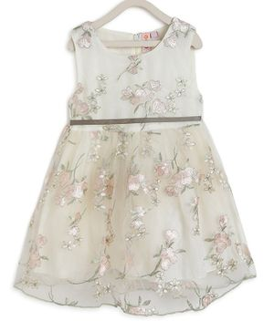 Kids On Board Sleeveless Flower Embroidery Detailing Flared Dress - Off White