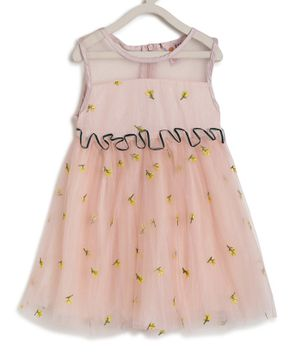 Kids On Board Sleeveless Flower Embroidery Detailing Flared Dress - Peach