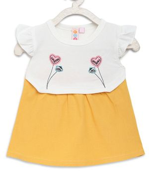 Kids On Board Cap Sleeves Heart Embroidery Detailing Dress - Yellow