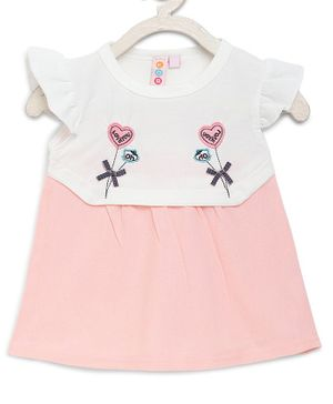 Kids On Board Cap Sleeves Heart Embroidery Detailing Dress - Light Pink