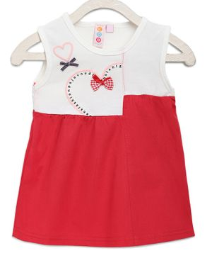 Kids On Board Sleeveless Heart Print Detailing Dress - Red