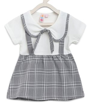Kids On Board Half Sleeves Checkered Dress - Grey
