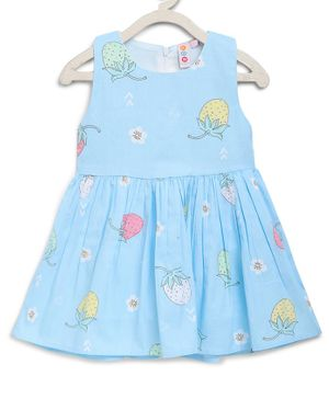 Kids On Board Sleeveless Strawberry & Flower Printed Dress - Blue