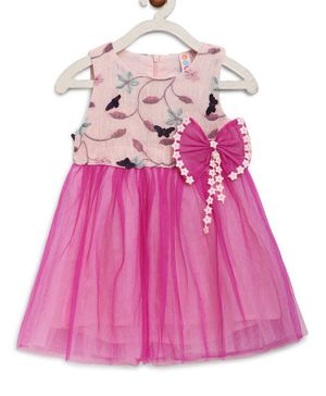 Kids On Board Sleeveless Flowers Printed Bow Detailed Flared  Tulle Dress  - Pink