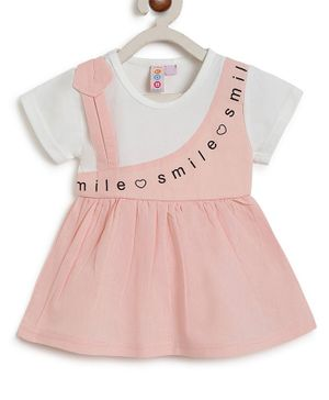 Kids On Board Short Sleeves Smile Print Flared Dress  - Peach