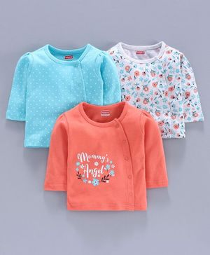Babyhug 100% Cotton Full Sleeves Printed Vest Pack of 3 - Peach Blue White