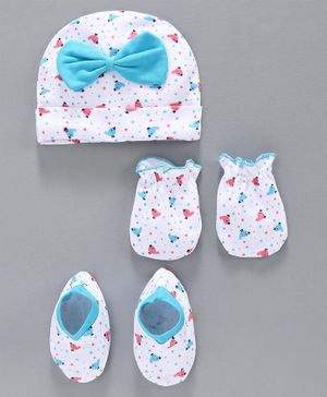 Babyhug 100% Cotton Cap Mittens & Booties Set - Blue White
