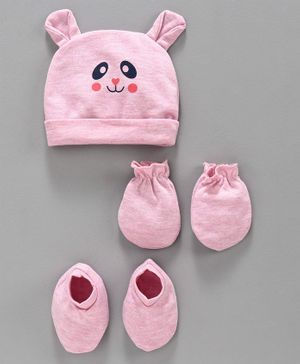 Babyhug 100% Cotton Cap with Mittens & Booties Animal Print - Pink