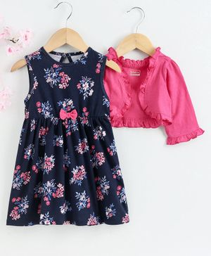 Babyhug Sleeveless Frock with Shrug Floral Print - Navy Blue