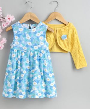 Babyhug Sleeveless Frock with Shrug Floral Print - Yellow Blue
