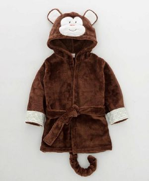 Kookie Kids Full Sleeves Hooded Bath Robe Monkey Face Applique - Brown