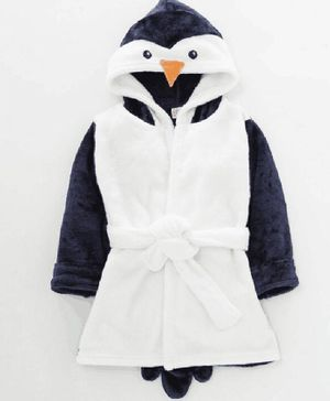 Kookie Kids Full Sleeves Hooded Bath Robe Penguin Face Applique - Blue