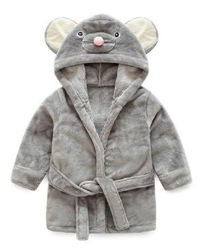 Kookie Kids Full Sleeves Hooded Bathrobe Mouse Face Patch - Grey