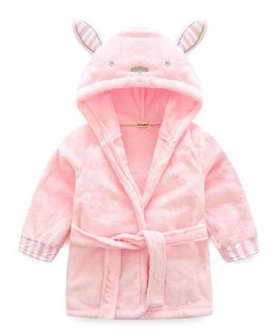 Kookie Kids Full Sleeves Hooded Bathrobe Bunny Face Patch - Pink