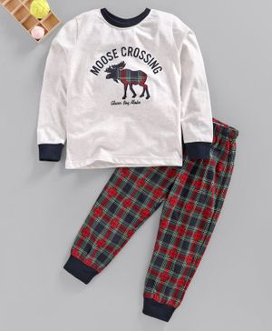 Lazy Bones Full Sleeves Tee with Lounge Pant Moose Print - White Red