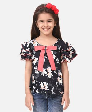 Cutiekins Bow Detailed Ruffle Sleeves Floral Printed Top - Black
