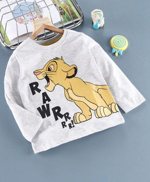 Babyhug Full Sleeves Tee Simba Print - Light Grey