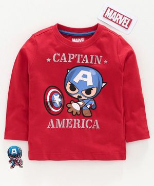 Babyhug Full Sleeves Tee Captain America Print - Red