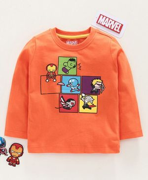 Babyhug Full Sleeves Tee Avengers Print - Orange