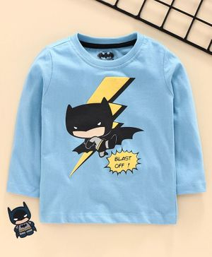 Babyhug Full Sleeves Tee Batman Print - Light Blue