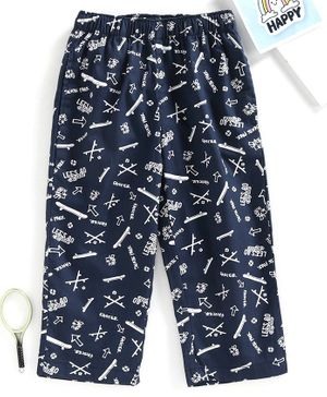 Babyhug Full Length Pajamas Skateboard Print - Navy Blue
