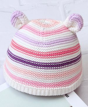 Kookie Kids Woolen Striped Cap Pink Purple - Diameter 8.5 cm