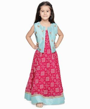 Lilpicks Couture Printed Sleeveless Long Dress With Mirror Work Jacket - Pink