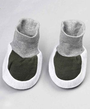 Grandma's Ankle Length Sock Shoes - Grey & Green