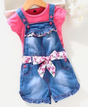 Chicklets Short Sleeves T-Shirt With Shaded Denim  Dungaree & Belt - Pink & Blue