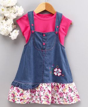Chicklets Half Sleeves T-Shirt With Flower Patch Dungaree Dress - Pink & Blue
