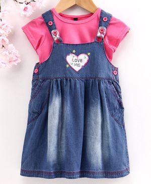 Chicklets Half Sleeves T-Shirt With Heart Patch Dungaree Dress - Blue & Pink