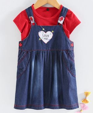 Chicklets Half Sleeves T-Shirt With Heart Patch Dungaree Dress - Blue & Red